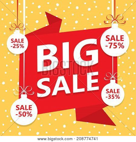 BIG Christmas sale background with red ribbon banner Christmas balls and snowflakes. Vector illustration.