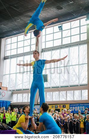 Kamenskoye, Ukraine - March 9, 2017: Demonstration Performances Of Acrobats At The Championship In C