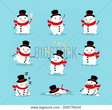 Set of cute playful snowmen. Elements from the Christmas collection of characters. Happy New Year Merry Xmas design element. Good for card banner flayer leaflet poster. Vector illustration
