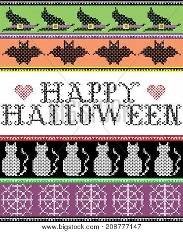 Scandinavian cross stitch and traditional American holiday inspired seamless Happy Halloween pattern with bat, cat, spider web, witch's hat, decor ornaments in purple, orange, black, yellow, green