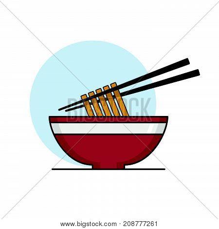 Bowl of Noodles with Chopsticks. Vector illustration.