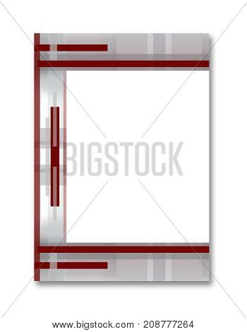 Cover A4 layout with large white text box. Geometric abstract template for brochures, portfolio, books, magazines. Border is decorated with red symmetric strips on the gray background. Modern technology design