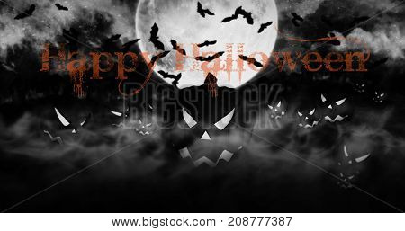 Halloween Pumpkins At The Cemetery Rising From The Mist With Clouds And The Moon In The Background 3