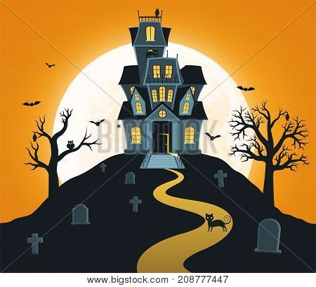 Halloween background with castle and full moon tombs trees bats.