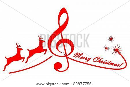 red Christmas card Merry Christmas with reindeer - illustration
