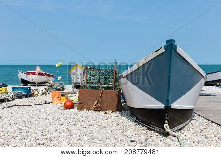 Fishing boats with fishing equipment at the beach of Yport in Normandie, France