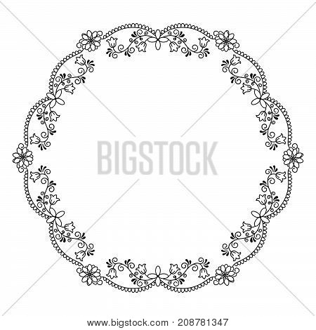 Stock vector illustration of a round frame with vines and flowers in a linear style isolated black on a white background.