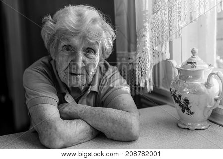 Portrait of an older women. Black-and-white picture.