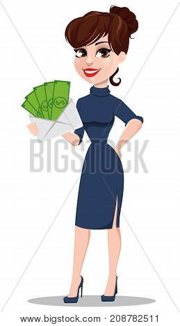 Young cartoon businesswoman. Beautiful lady holding white envelope full of money. Fashionable modern business woman. Vector illustration