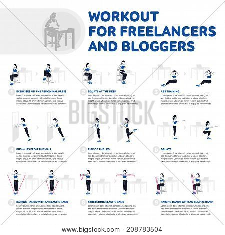 Workout for freelancers and bloggers. Fitness, Aerobic and workout exercise in gym. Vector set of gym icons in flat style isolated on white background. People in gym. Gym equipment.
