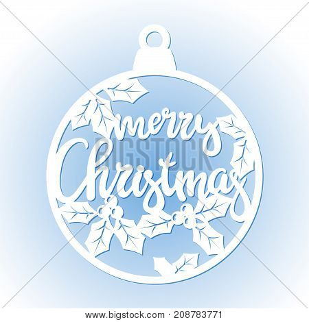 Openwork Christmas bauble. Laser Cutting template for greeting cards decorations interior decorative elements.