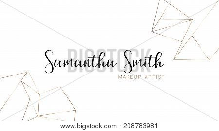 Makeup artist business card template with a gold geometric pattern. Gold polygonal texture. Corporate identity template in trendy colors with geometric shapes for modern cute romantic design