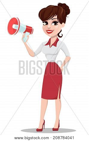 Young cartoon businesswoman in red and white clothes. Beautiful lady holding megaphone. Fashionable modern business woman. Vector illustration