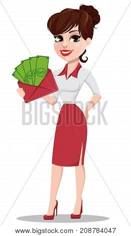 Young cartoon businesswoman in red and white clothes. Beautiful lady holding envelope full of money. Fashionable modern business woman. Vector illustration
