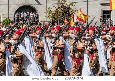 Madrid Spain - October 12 2017: Soldiers marching in Spanish National Day Army Parade. Several troops take part in the army parade for Spain's National Day.