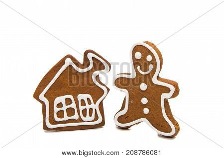 gingerbread man baked isolated on white background