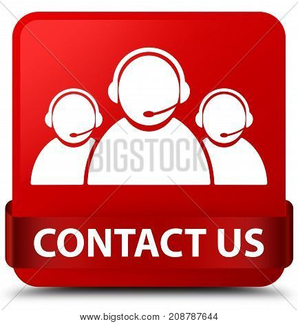 Contact Us (customer Care Team Icon) Red Square Button Red Ribbon In Middle