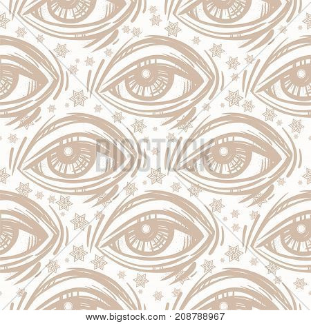 Trendy fashion all seeing eye seamless pattern. Hand drawn Eye symbol. Alchemy, religion, spirituality, occultism, textiles art. Isolated vector illustration. Conspiracy theory.