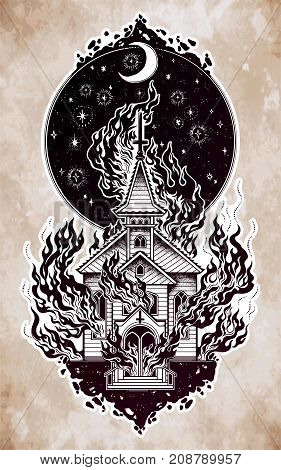 Burning Church flash tattoo dotwork art. Religious chapel fire arson over moon sky. Metaphor for unholy ritual, denial of God. Religion, gothic art. Vector illustration isolated. Dark occult symbol.