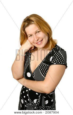 Beautiful Caucasian Woman In Casual Dress