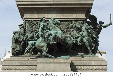 SOFIA BULGARIA - OCTOBER 06 2017: monument to the King-liberator to Russian king Alexander II built in 1907 year detail.