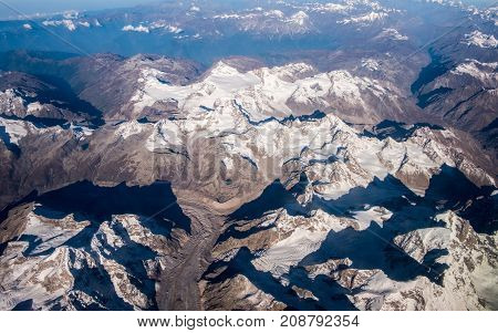 Top view image of the Himalaya mountain and blue sky