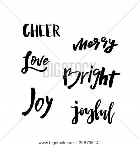 Merry Christmas card with calligraphy Joy, Love