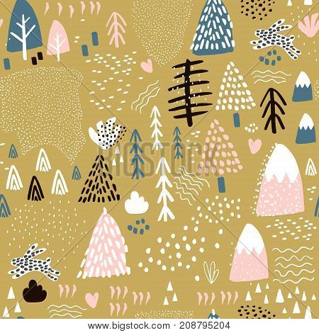 Seamless pattern with bunny forest elements and hand drawn shapes. Childish texture. Great for fabric textile Vector Illustration
