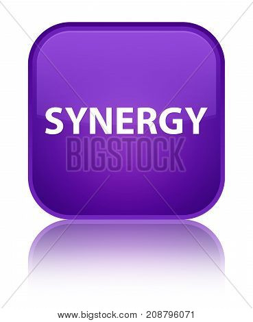 Synergy isolated on special purple square button reflected abstract illustration poster