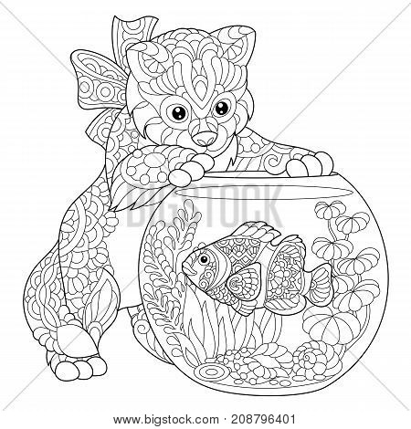Coloring page of kitten playing with clown fish in aquarium. Freehand sketch drawing for adult antistress coloring book in zentangle style.