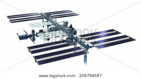 3D Rendering of the International Space Station from its zenith side with solar panels and detailed modular architecture.