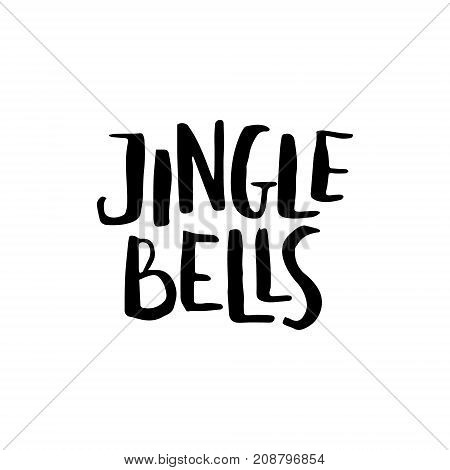 Merry Christmas card with calligraphy Jingle bells. Template for Greetings, Congratulations, Housewarming posters, Invitations, Photo overlays. Vector illustration
