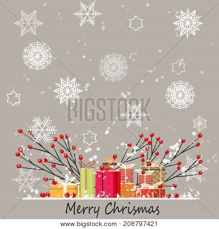 Christmas card. Watercolor painting with hand lettering. Gift box for Christmas. digital painting watercolor style