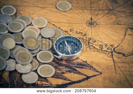 Treasure, Map, Ancient, Skull, Background, Golden, Brass, Compass, Pirate, Gold, Wealth, Discover, V