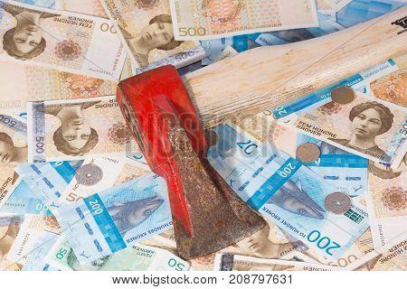 Krone Banknotes. Norwegian Krone Currency