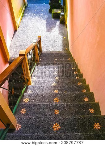 Bali, Indonesia - April 11, 2012: View Of Traditional Stairs At House At Tanah Merah Resort