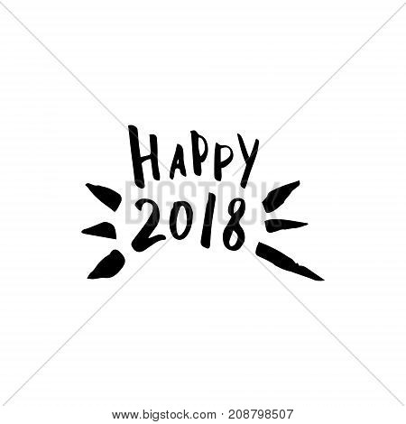 Merry Christmas card with calligraphy Happy 2018. Template for Greetings, Congratulations, Housewarming posters, Invitations, Photo overlays. Vector illustration