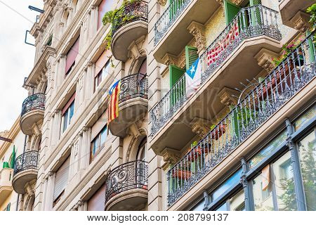 View Of The Balcony With The Flags. The Referendum On Independence, Barcelona, Catalonia, Spain. Clo