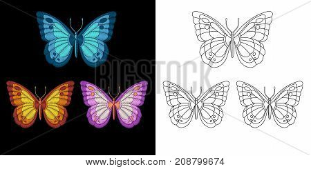 Embroidery design with butterflies. Collection of embroidered elements for fabric and textile prints patches stickers.