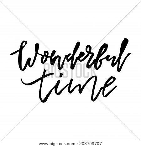 Merry Christmas card with calligraphy Wonderful time. Template for Greetings, Congratulations, Housewarming posters, Invitations, Photo overlays. Vector illustration