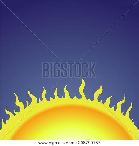 Yellow Sun on Blue Gradient Sky Background