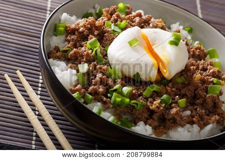 Japanese Cuisine: Spicy Meat Soboro With Egg Poached, Rice And Green Onion Close-up. Horizontal