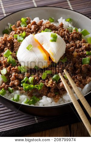 Japanese Spicy Beef Soboro With Egg Benedict, Rice And Green Onion Close-up. Vertical