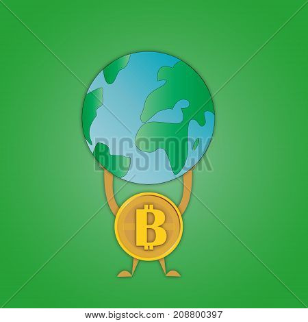 vector image coins bitcoin with a symbol in the middle that holds the planet Earth on hands symbolizing superiority over mankind on a green background.