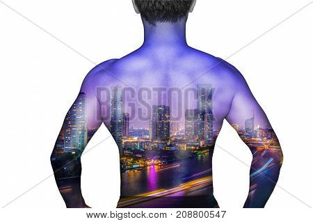 back man asia anatomy body and city human isolated