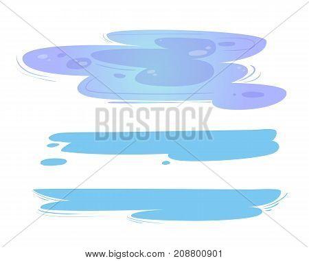 Cartoon puddles set, vector illustration isolated on the white background