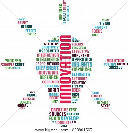 Innovation Word Cloud Text Illustration in shape of an idea bulb. Innovative ideas keyword tags isolated vector. Transparent.