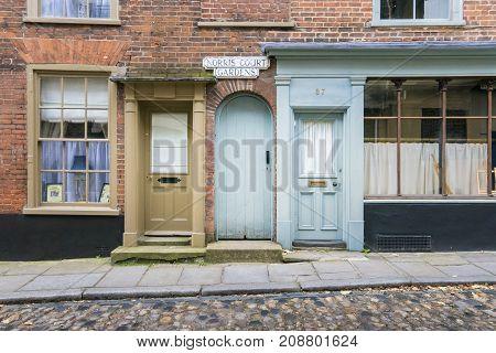 NORWICH, NORFOLK, 4TH OCTOBER 2017 - Doors on Elm Hill Norwich Norfolk UK