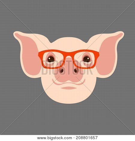 pink face head glasses vector illustration style flat