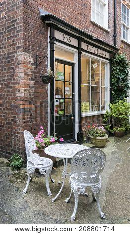 NORWICH, NORFOLK, 4TH OCTOBER 2017 - Tea Rooms in Wrights Court Elm Hill Norwich Norfolk UK